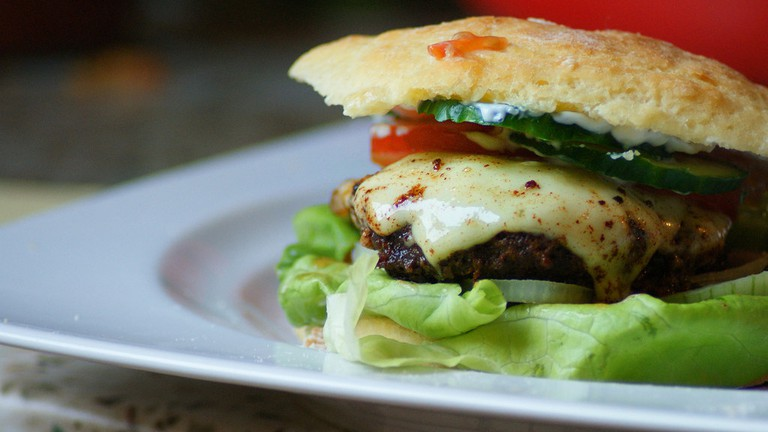 Burgers stuffed with cheese and meat