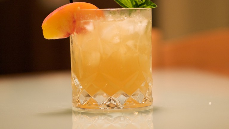 Peach and mint cocktail