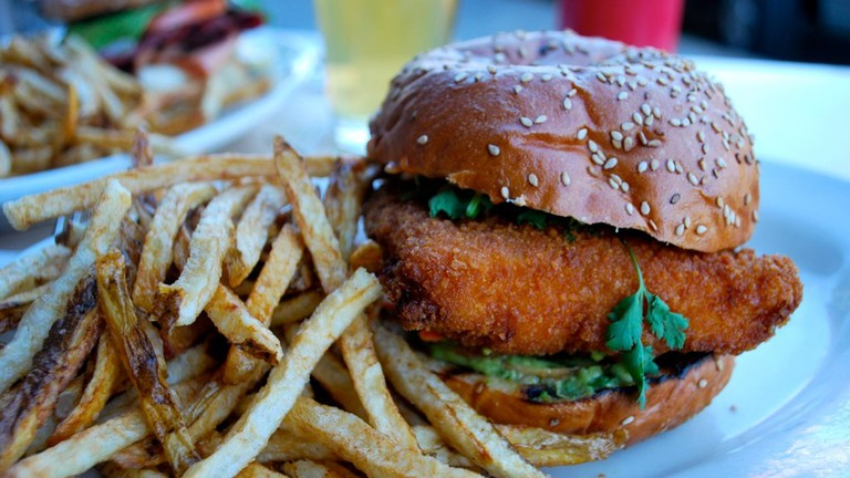 Fishburger and homemade fries