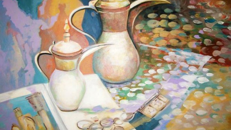 Bahraini Coffee Pots, Acrylic on Canvas