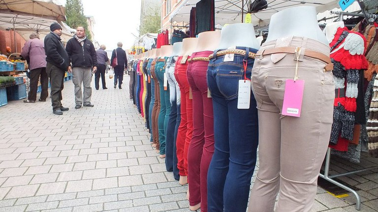Pants for sale at the Ledeberg Sunday Market