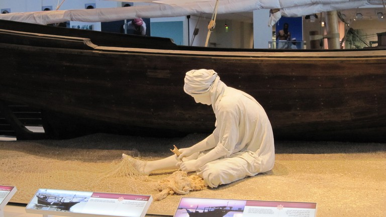 A replica of what locals in Sharjah used to do for a living: fishing and pearl diving