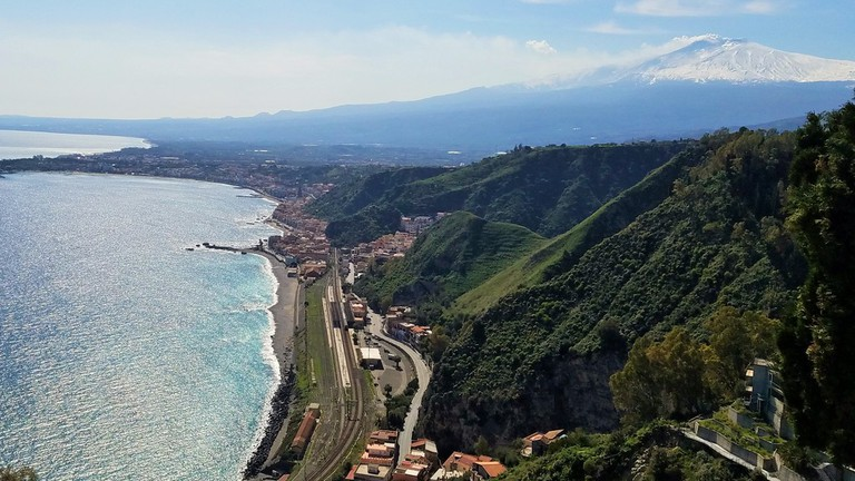 View from Garden of Villa Comunale Taormina