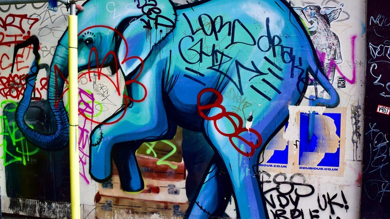 This shocking blue elephant is well suited to Electric Avenue