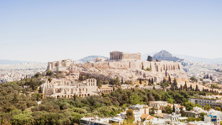 View of Acropolis and the city of Athens, Greece