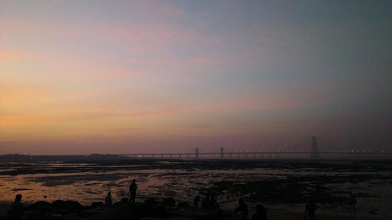 A view of the Bandra-Worli Sea link from Dadar Chowpatty/Shivaji Park
