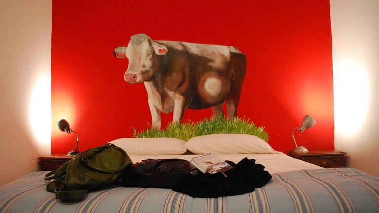 A bedroom in the Art Factory hostel