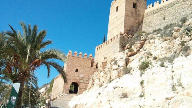 The outer walls of Almeria's Moorish Alcazaba