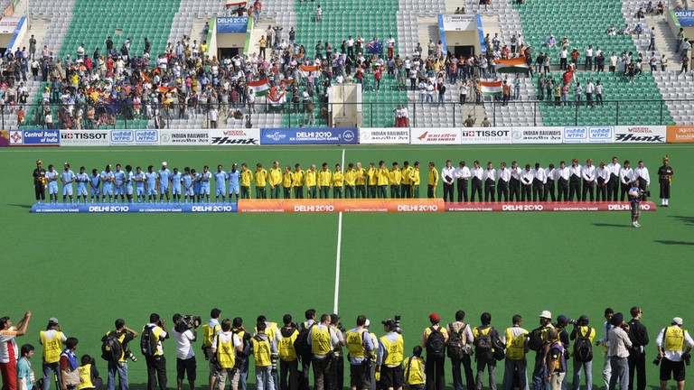 During the XIX Commonwealth Games 2010 at Major Dhyan Chand National Stadium, New Delhi