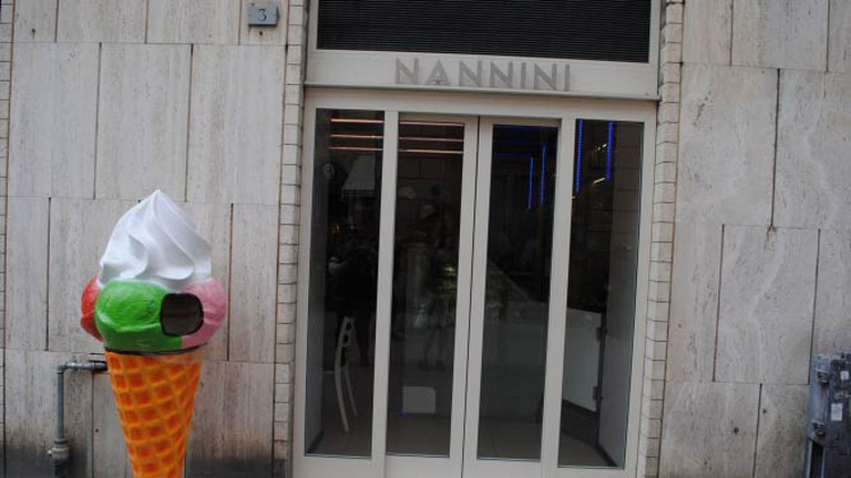 One of the entrances to the Nannini gelateria and restaurant