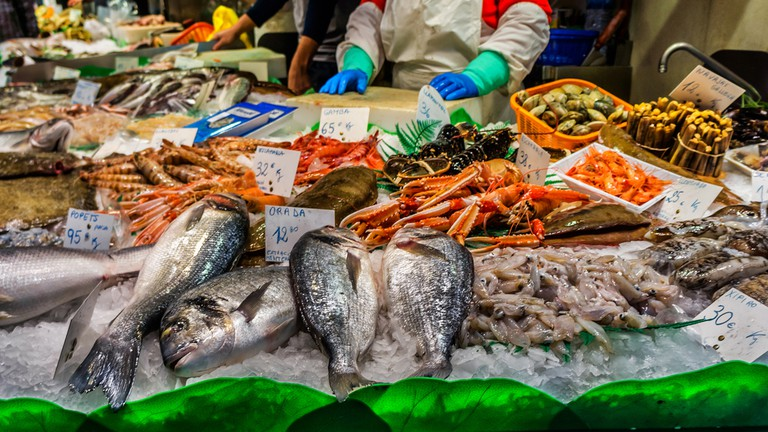 Famous La Boqueria market - one of the oldest markets (Established in 1217) in Europe that still exist. A huge selection of seafood.