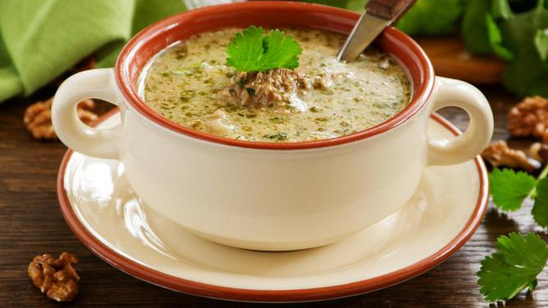 Georgian dish of kharcho soup of beef with walnuts & rice