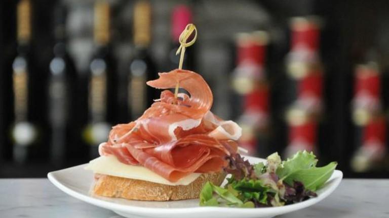 Pintxo of Slices of Serrano Ham and Manchego Cheese