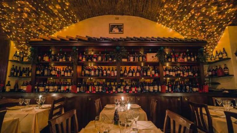 La Giostra interior and wine collection