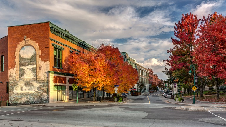 Wellington street downtown Sherbrooke city in fall
