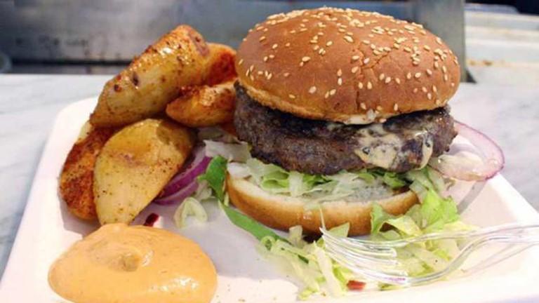 Delicious Deli Bar Hambuger and potato wedges