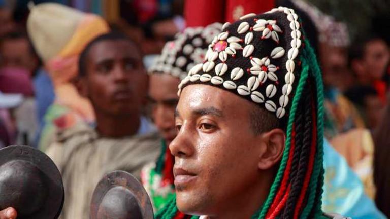 Gnawa musician performing
