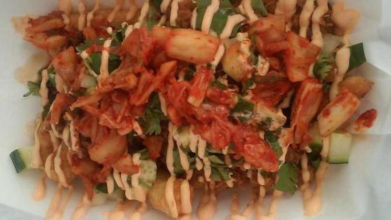 Funky Monkey Munchies' kimchi masa-potato fries