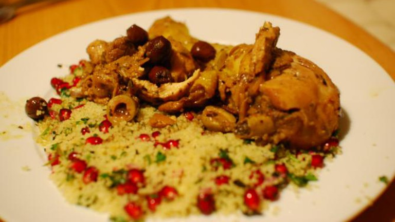 Chicken tajine with pomegranate couscous