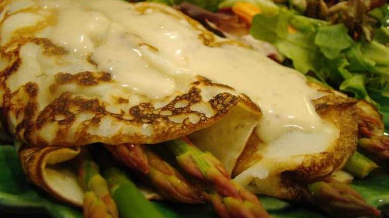 Asparagus Crepe with Vegan Hollandaise
