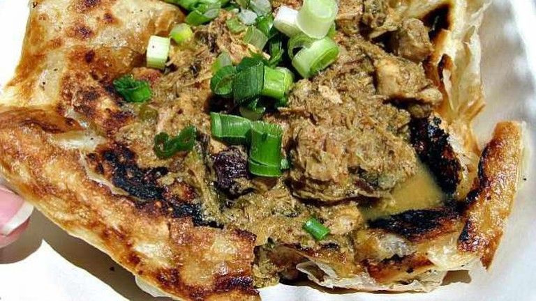 Roti canai with Malaysian mint chicken curry