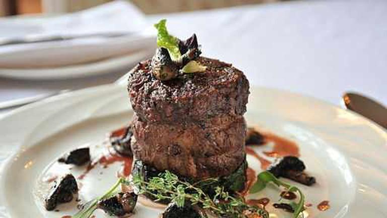 Beef fillet steak with mushrooms