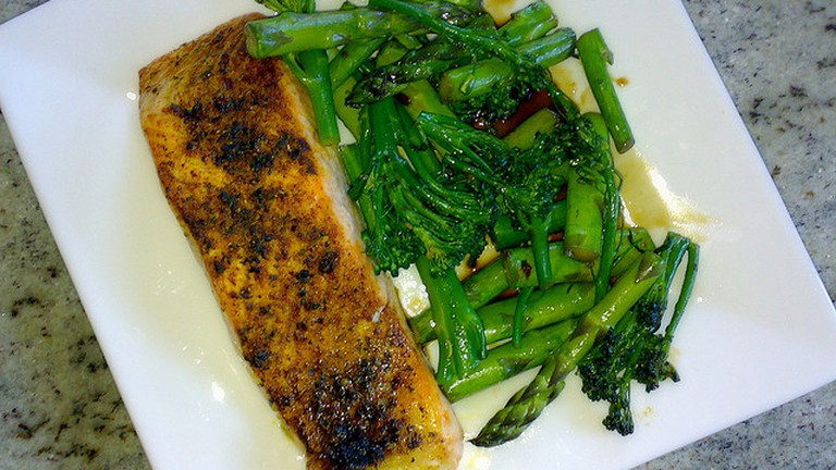 Salmon and greens