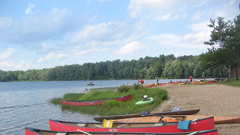Beached canoes