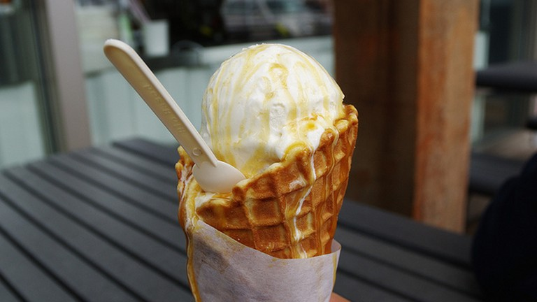 Small Classic Vanilla with Malt Syrup and Waffle Cone