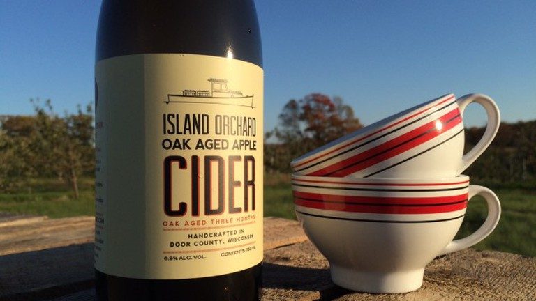 Island Orchard's oak aged cider, with ceramic cups to keep it cool