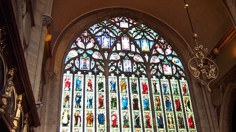 The stained glass over the main wall in the Holy Trinity church