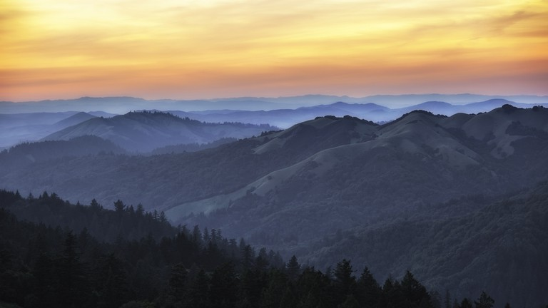 Marin County hills during sunset