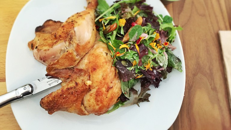 Rotisserie chicken with salad