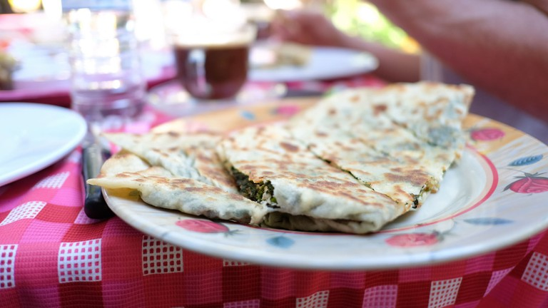 Spinach and cheese gözleme