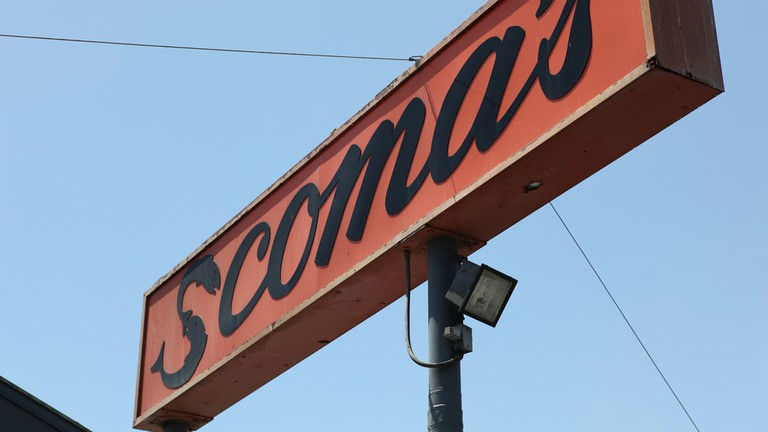 Scoma's sign stands tall above their San Francisco location