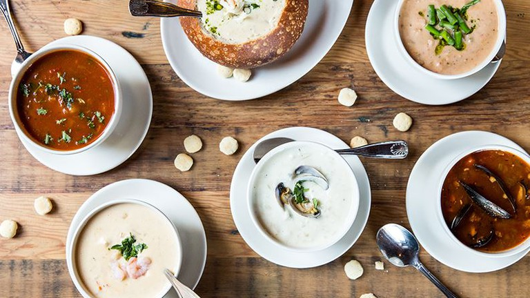 An elegant chowder spread