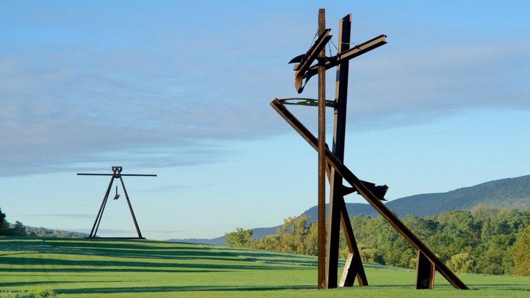 View of the South Fields, all works by Mark di Suvero. Pyramidian, 1987/1998. Gift of the Ralph E. Odgen Foundation. Jeanne, 2014-2015
