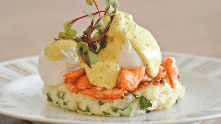Potato hash, served with Tasmanian double hot smoked salmon