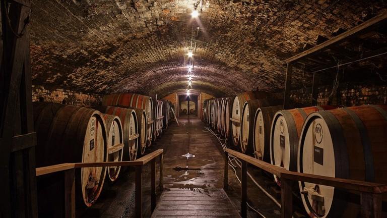 The Tahbilk Winery cellar