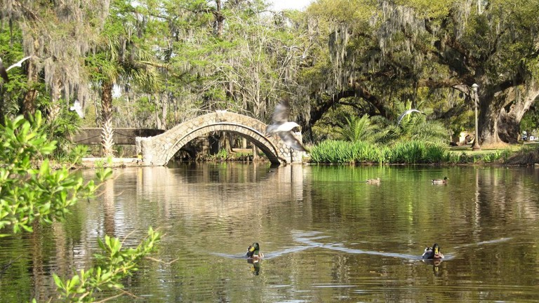 Lagoon with bridge and ducks, City Park, New Orleans