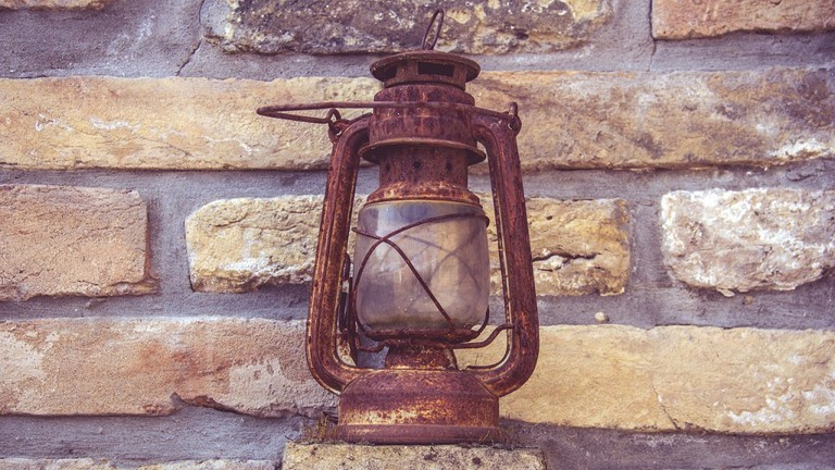 Rusted antique lamp