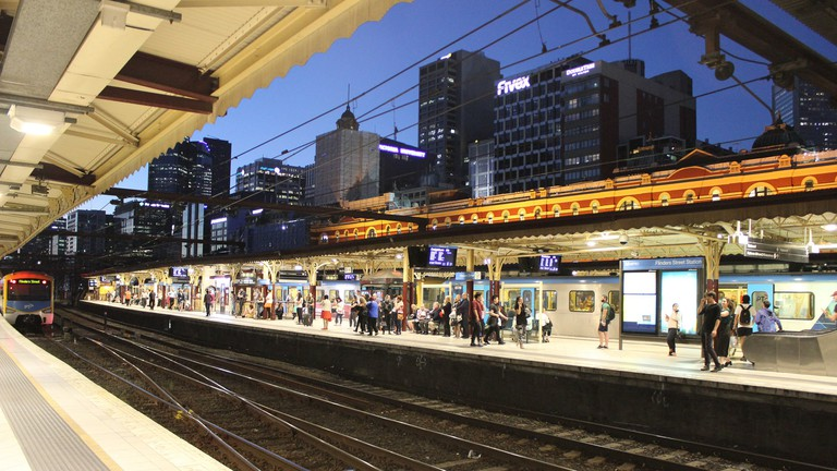 Nighttime at Flinders Street Station