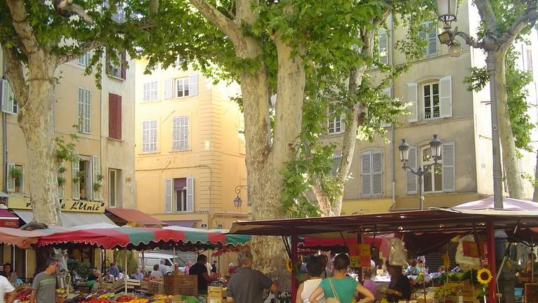 The daily market in Place Richelme, Aix-en-Provence