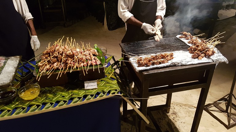 Preparing food on the street