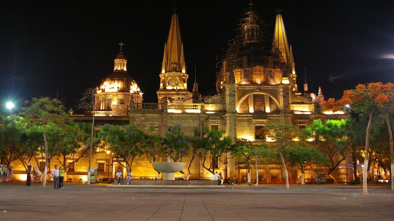 Guadalajara cathedral by night