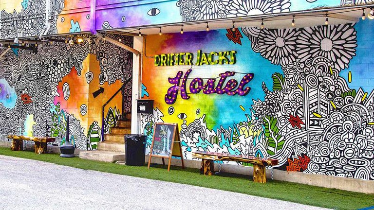 Drifter Jack's Hostel's walls were painted by local artists
