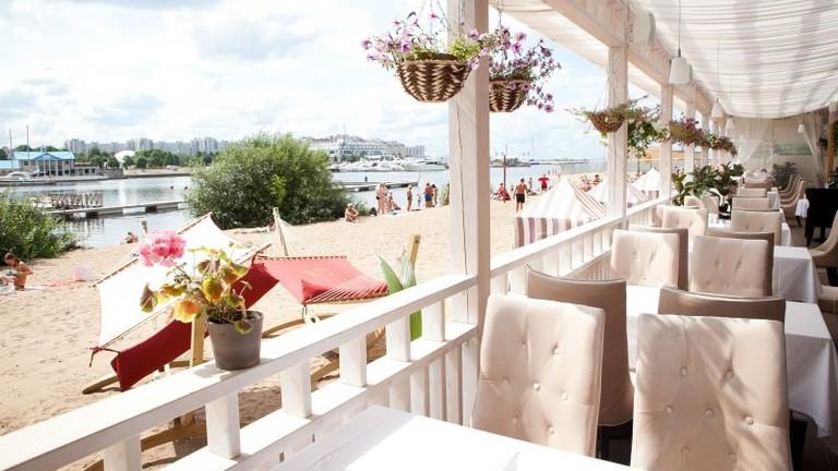 A terrace on the beach