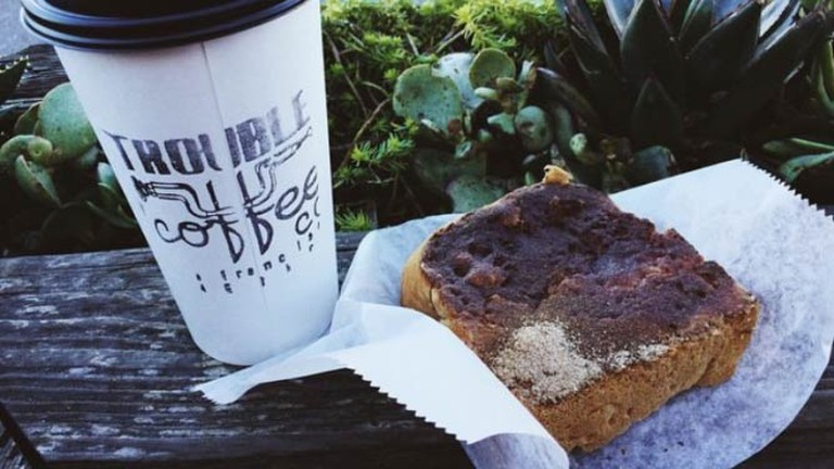 Coffee and Toast at Trouble Coffee