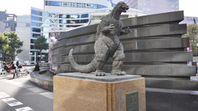 Godzilla statue next to Hibiya Chanter