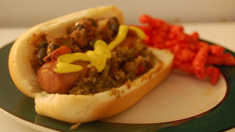 Most hot dog vendors have their own chili con carne to top their dogs